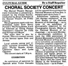 Choral Society concert TOM 6.06.1989