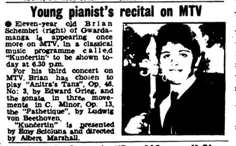 Young pianist's recital on MTV TOM 7.02.1973