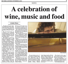 Celebration of wine, music and food TOM 2.11.2004